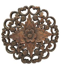 carved lotus wood plaque asian wall sculptures