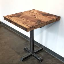 reclaimed wood pub table sets reclaimed wood and steel pedestal pub table wage of labor llc