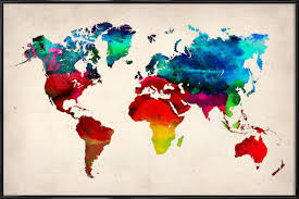 Watercolor Map Of The World by World Map As Poster In Standard Frame By Naxart Juniqe Shop