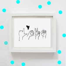 love in sign language digital print