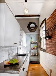 tiny shaped kitchen design granite glass countertop brown blind living room portable white gas range frosted glass hanging cabinet green subway tile backsplash brown wooden