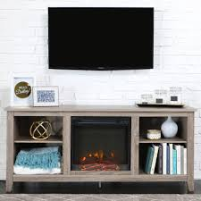 Electric Fireplace Heater Tv Stand Driftwood Tv Stand With Fireplace Insert For Tvs Up To 60