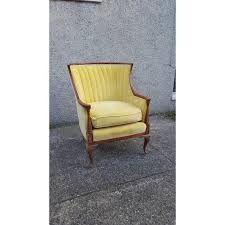 Velvet Wingback Chair Antique Canary Yellow Velvet Wingback Chair Chairish