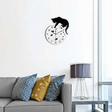 fish decorations for home 2017 lovely design acrylic animal diy clock black cat fish pattern