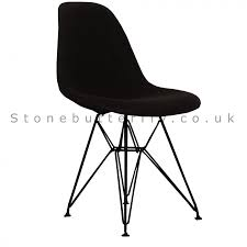ray eames style fabric dsr side chair black legs black