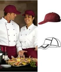 casquette de cuisine bordeaux polyester coton velcro ajustable