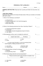 Declarative And Interrogative Sentences Worksheets 4th Grade Periodical Test In English 2