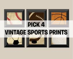 Baseball Decorations For Bedroom by Pick 4 Sports Set Of 4 Vintage Sports Prints Baseball