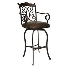 Counter Height Swivel Bar Stool Furniture Black Iron Swivel Stool With Carved Back And Black