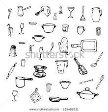 seamless pattern kitchen equipment utensils black stock vector