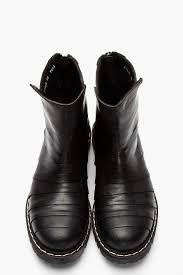 biker boots men gareth pugh paneled leather cutout biker boots in black for men lyst