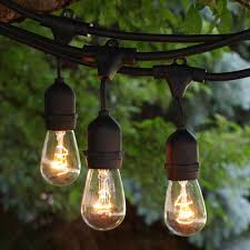 Clear Patio String Lights 330 Ft Black Commercial Medium Suspended Socket String Light With
