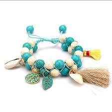 handmade bracelet with beads images Women turquoise weave bracelets mala beads chakra tassel handmade jpg