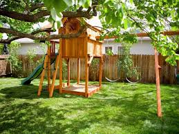 exterior kids backyard playground wood slider backyard