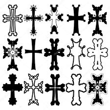 armenian crosses set of crosses armenian cross stock vector stock vector