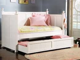 plain kids beds with trundle white wooden painted on decor for
