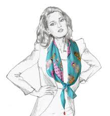 russian doll turquoise square silk scarf scarves