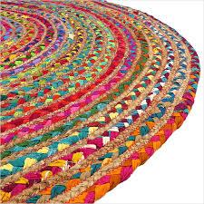 Natural Jute Rugs Round Tan Natural Jute Chindi Sisal Woven Area Braided Boho Rug