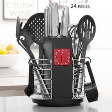 ustensil cuisine pas cher porte ustensiles de cuisine rotatif avec minuteur 24 pièces pas cher
