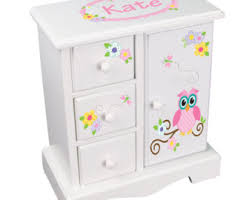 girl jewelry box personalized personalized owl jewelry box white jewelry box with