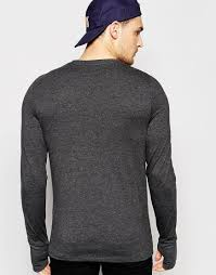 Sweater With Thumb Holes Asos Muscle Long Sleeve T Shirt With Thumbholes In Grey In Gray