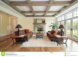 family room with wood ceiling beams stock images image 10394184