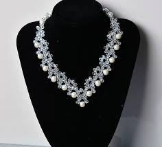 white pearl beaded necklace images How to make crystal glass bead necklaces with white pearl beads 7 jpg