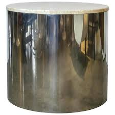 Marble Accent Table Large Paul Mayen Cylinder Drum Table With Marble Top At 1stdibs