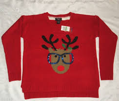 rudolph sweater reindeer sequin glasses rudolph sweater large