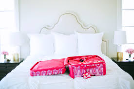 Pink Peonies Bedroom - packing tips with tumi pink peonies by rach parcell