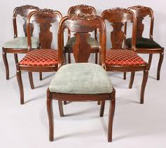 lot 471 six victorian dining chairs with carved crests
