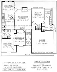 1 story 3 bedroom bath house plans house concept