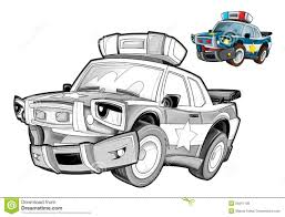 cartoon police car caricature coloring page stock illustration