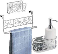 metal kitchen sink and cabinet combo mdesign decorative metal kitchen sink countertop combo includes dish soap with scrubber caddy in sink suction soap sponge holder