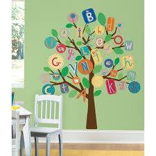 baby gt nursery decor gt wall decor gt wall stickers alphabet tree giant wall mural decals abc trees stickers new baby nursery decor