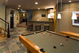 home design basement game room and bar stools in traditional