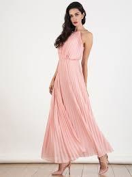 chiffon maxi dress withchic pink cut away sleeveless halter pleated chiffon