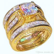 14k gold wedding ring sets wholesale luxury 14k gold filled ring jewelry square topaz cz
