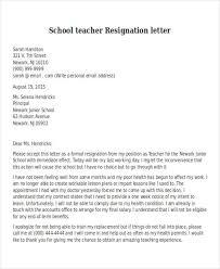 teacher resignation letter resignation letter teacher resignation