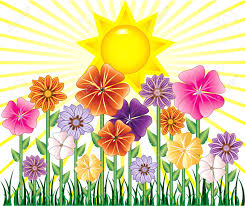 illustration of a spring day with sunshine and flower garden