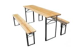 folding table with bench wooden folding beer table bench set trestle kms direct