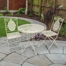Folding Patio Bistro Set Cassis Matt Cream Metal 3 Piece Folding Patio Bistro Set Leader