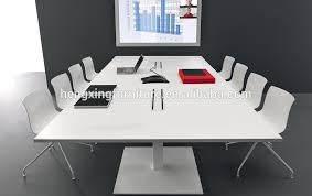 White Conference Table White Color Square Design Chrome Metal Conference Table For 8