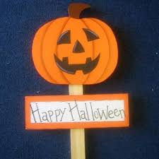wooden handmade yard signs happy halloween with scary pumpkin