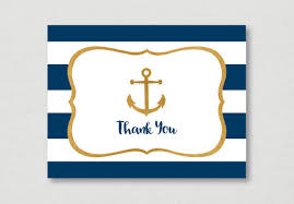 nautical thank you cards nautical thank you card nautical bridal shower navy gold