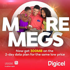 digicel more megs now you get 300mbs on the 2 day facebook