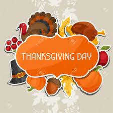happy thanksgiving day background design with sticker