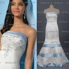 wedding dress trim strapless trumpet beaded back buttons bow satin light blue trim
