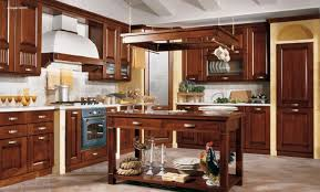 classic galley kitchen design brown wooden cabinet wall floating