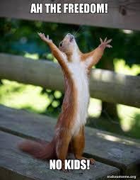 Freedom Meme - ah the freedom no kids happy squirrel make a meme